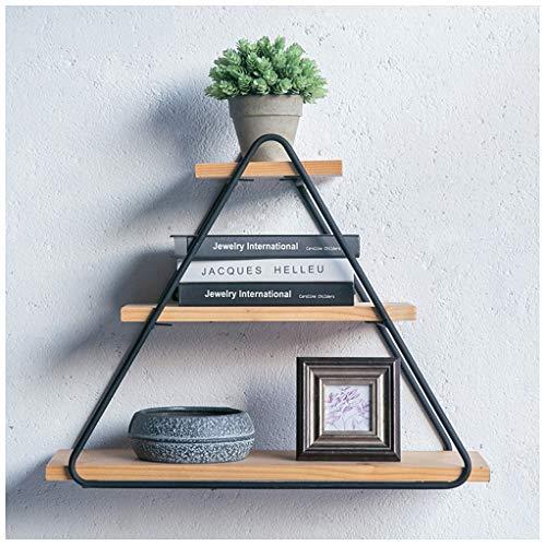 Gjfhome driehoekige wandplank, creatief woonkamerdecoratie/massief houten wandplank/productweergave led/DIY planken (zwart)