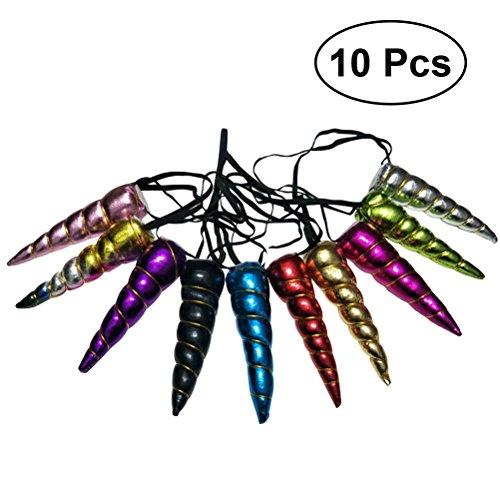 Frcolor Unicornio Horn Diadema Color Pieza Espiral Cuerno de unicornio para Disfraz Favor Suministros, 10 Piezas (Color Surtido)