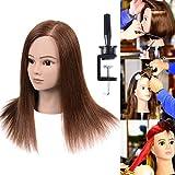100% Real Human Hair Mannequin Head With Hair Human Hair Training Maniqui Head For Hairdresser Hairdressing Doll Heads Manikin Head Dark Brown 18'-20' (From Forehead to The Back Hair End)