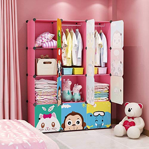 Great Deal! MAGINELS Children Wardrobe Kid Dresser Cute Baby Portable Closet Bedroom Armoire Clothes...
