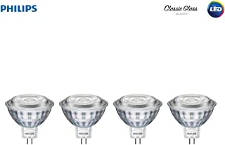 Philips LED 470278 50 Watt Equivalent Classic Glass MR16 Dimmable LED Indoor & Landscape Flood Light Bulb (4 Pack), 4-Pack, Bright White, 4 Piece