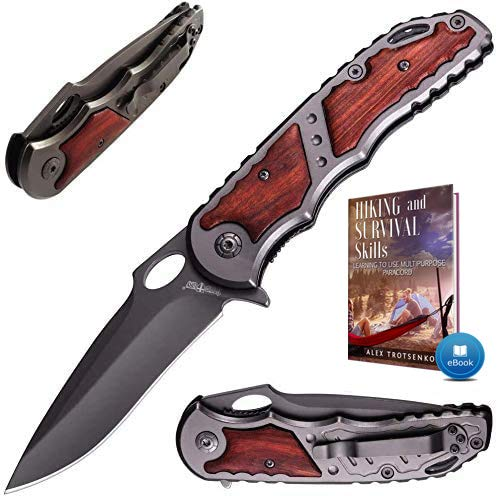 Pocket Knife - Spring Assisted Knife - Tactical Survival Folding Knives - Best EDC Camping Hiking Hunting Boy Scout Knofe Gear Accessories for Men - Wood Handle Sharp Blade Knifes - Gift for Men 97010