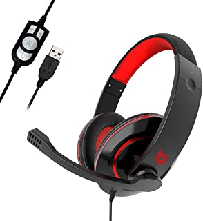 BigPassport USB Headphone Headset with Mic & Inbuilt Sound Controls for Computer & Laptop   Noise Cancellation with Auto V...