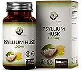 EN Cascara de Psyllium 1000mg | 180 Capsulas Veganas | Fibra Natural de Plantago Ovata del Psilium Husk en Polvo | Perfecto para la Harina de Keto | Sin OGM y Sin Gluten o Lácteos
