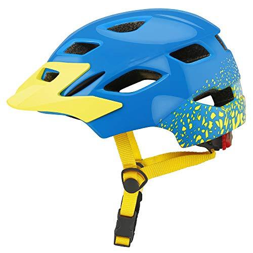 KYLong Kinderhelm Fahrrad Roller Unruhhelm mit Rücklichter Eislaufhelm-Blau gelb_M