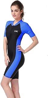 One-Piece Snorkeling Surfing Swim Suit Short Sleeves Plus Size Swimwear- Sun Protection