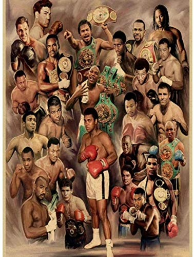 EDLSY DIY Diamante Pintura Punto de Cruz Kits de Punto de Cruz 5D Taladro completocampeón de Boxeo Muhammad Ali Cartel clásico decoración de interiores40*50CM(16 * 20pulgada)