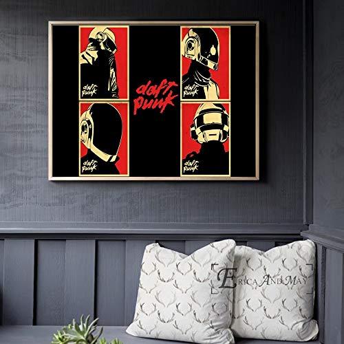 ganlanshu Casco música Cartel e impresión Lienzo Arte Mural salón decoración hogar decoración,Pintura sin marco-50X70cm