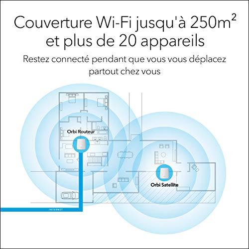NETGEAR ORBI Système Wifi Mesh amplificateur RBK20 (1 routeur + 1 satellite extender) – Jusqu'à 250m² de couverture
