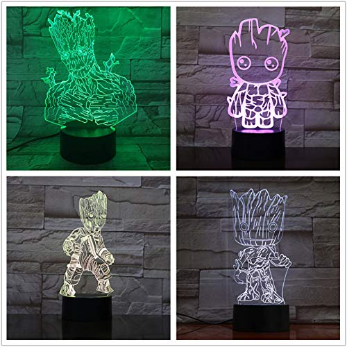 Tree Man Groot Figura 3D Illusion Lámpara de mesa multicolor Dormitorio USB 3D LED Luz nocturna Super regalo