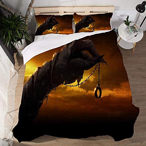 Juego de ropa de cama 100 % microfibra, juego de funda de edredón de tela para niños y adultos, de fácil cuidado (140 x 200 + 50 x 75 cm)
