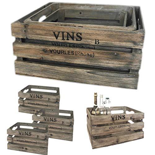 LS-LebenStil 3´er Set Weinkisten Holzkiste Grau Wein-Regal Apfelkiste Obst-Kiste