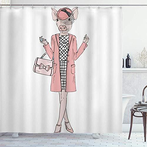 DYCBNESS Duschvorhang,Nettes rosa Schwein Cartoon lustiges Schwein Verkleidet wie Mode Hipster Frau,Langhaltig Hochwertig Bad Vorhang Polyester Stoff Wasserdichtes Design,mit Haken 180x180cm