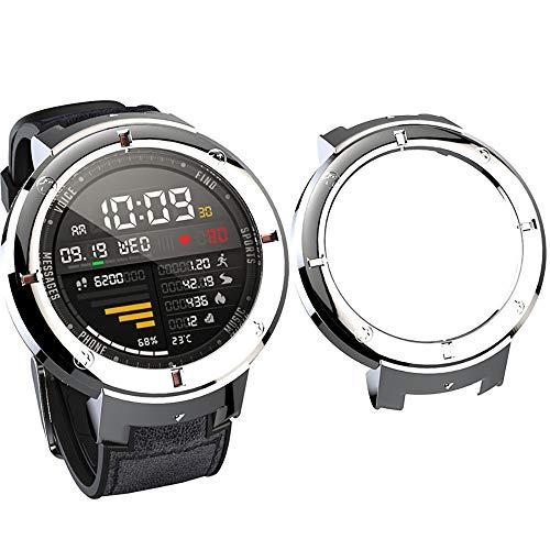 SIKAI Protector Case Funda Compatible con Amazfit Verge 3 Smartwatch Moda Slim Colorido Marco Caso Cubierta Proteger Shell para Amazfit Reloj Protección in PC (Enchapado Plata)