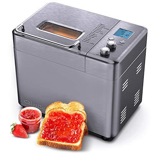 CalmDo Panificadora, Máquina de Pan de Acero Inoxidable con Olla de Cerámica Antiadherente, Configuración de Menú 15 en 1, 3 Tamaños de Pan, 3 Colores de Corteza para Panadería Casera