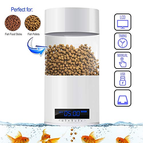 SereneLife Smart Digital Fish Food Dispenser - Automatic Fish Feeder for Fish Tanks and Aquariums - Programmable Battery Operated Vacation/Weekend Auto Fish Feeder Aquarium Feeding Station SLAFF76