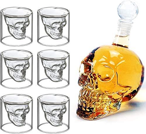 MVPower Botella de Vidrio con Forma de Calavera, 700 ml con 6 Vasos de Chupito de 75 ml Ideal para Whisky, Vodka o Vino Favorito, Idea de Regalo para Navidad o para Una Noche Divertida