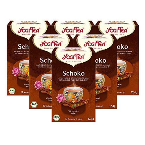 Yogi Tea 6x Schoko Bio Yogi Tee I köstliche ayurvedische Gewürz-Tee-Mischung I Bio-Qualität - 6x 17 Tee-Beutel I Schokoladen-Tee 6 Päckchen