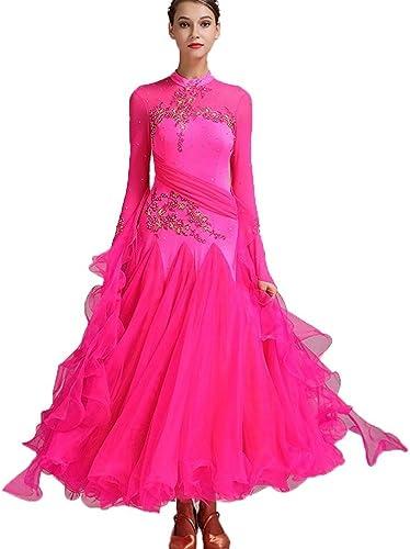National Standard Ballroom Dance Robes pour Les Femmes De La Concurrence Dancewear, Broderie Strass Manches Longues Valse Tango Costume De Danse (Couleur   Rose rouge, Taille   M)