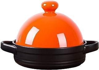 WZYJ Tagine Pot 7.5Inch, Tajine con Tapa En Forma De Cono Cerámica Cacerola Plato Ollas De Cerámica para Cocinar Y Estofado Cacerola Olla De Cocción Lenta,Naranja