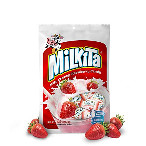 Milkita Creamy Shake Candy Bag, Gluten Free Chewy Candies with Calcium & Real Milk, Zero Trans Fat, Low-Sugar, Strawberry Flavor, 30 Pcs