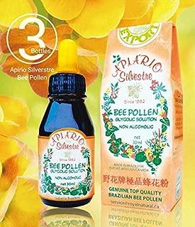 Official Distributor - 3 Bottles of Apiario Silvestre Brazilian Bee Pollen Liquid Glycolic Extract -Non Alcoholic, Wax Free