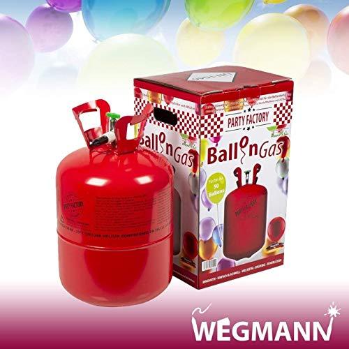 Heliumflasche Ballon Gas für Jede Happy Party wie Hochzeit Geburtstag - Heliumgas mit Spaß leicht zu befüllen - Wegwerfbehälter Einwegflasche für bis zu 50 Ballons - Set mit 8er Beutel Luftballons