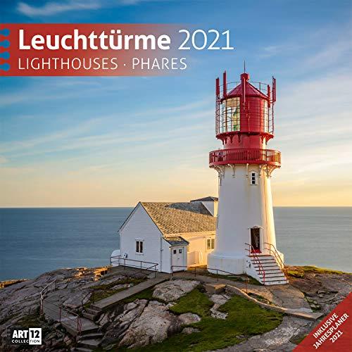Leuchttürme 2021, Wandkalender / Broschürenkalender im Hochformat (aufgeklappt 30x60 cm) - Geschenk-Kalender mit Monatskalendarium zum Eintragen