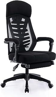 YEATION オフィスチェア デスクチェア 人間工学椅子 メッシュチェア 調節可能な腰サポーとヘッドレストとフットレスト付き 155度リクライニングチェア 厚手座面 搖りチェア パソコンチェ ハイバック事務椅子(ブラック)