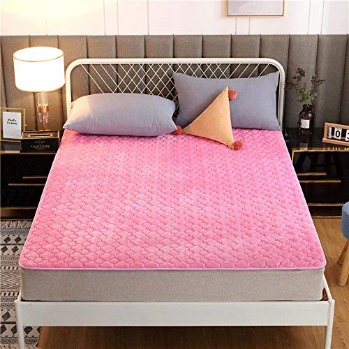 FJMLAY Sábanas ajustablesExtra Suave,Sábana Bajera de Cama de Franela Gruesa, colchón Antideslizante Plegable, cojín Doble Individual-Pink_1_200 * 220cm