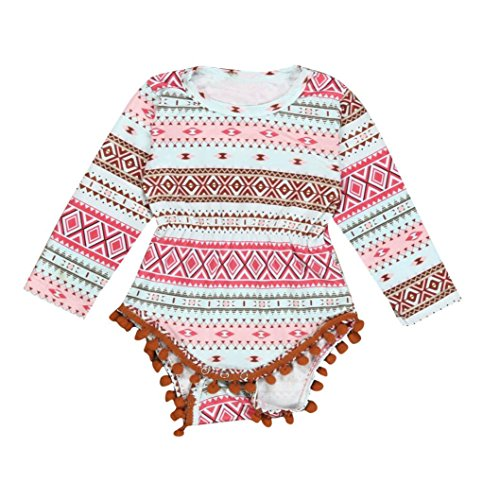 Longra Bébé Enfant Mamelon Combinaison Le Maillot de Corps Vêtements Outfit (0-2 ans) (12M, Multicolore)