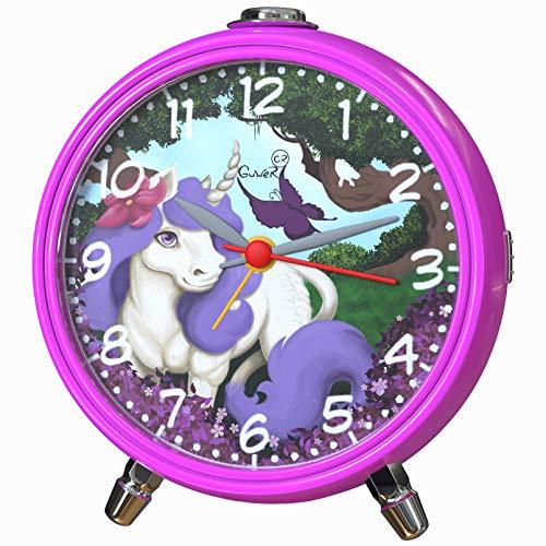 Kinderwecker Mädchen ohne Ticken Wecker mit Pferdemotiv lautlos Analog Einhorn Pferd rosa gute Idee Geschenk für Geburtstag oder Schulanfänger Tischuhr geräuschlos Quarz mit Led Licht Snooze pink