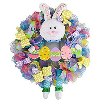 Sale Easter Bunny Summer Spring Welcome Door Wreath; Pink, Turquoise, Yellow Lavender Clearance