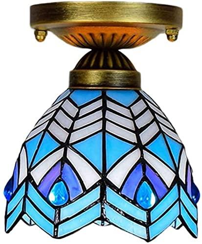 Lievevt Lampadario Moderno Iluminación de lámpara de Techo Retro Estilo, Mini lámpara de Techo instalación empotrada Pasillo Escalera Foco de Techo balcón Colorido 15x18cm