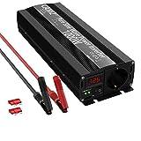 Inversor de corriente Sinus 1000 W/CAM2 de 12 V a 220 V-240 V, potencia máxima de 2000 W, con enchufe de 1 UE y pantalla LED para portátil, iPad, comercio, detección inteligente
