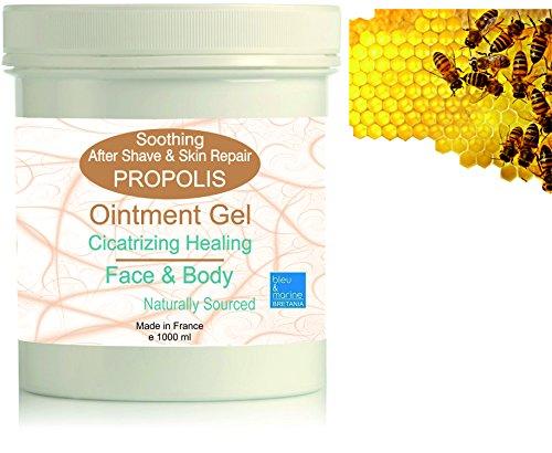 Gel Hydratant de massage à la Propolis 1000 ml - Soin Peaux à problèmes - Baume cicatrisant - Soin après-rasage (apaisant et assainissant) - Gel apaisant piqûres d'insectes