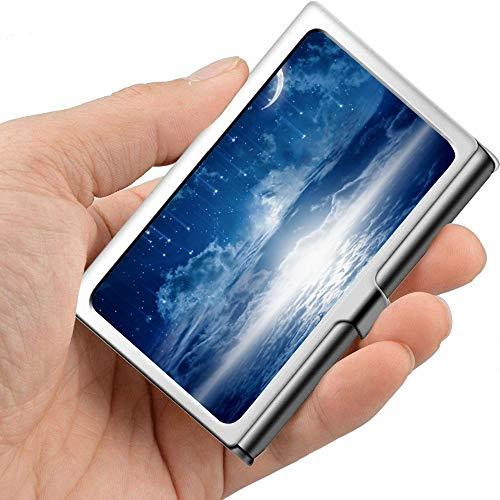 White Llight In Nebula Moon Trail Star Basic Tarjetero para tarjetas de presentación Funny Business Card Holder Profesional Metal 3.81x 2.7 X 0.29 pulgadas Estuches para tarjetas de visita para mujer