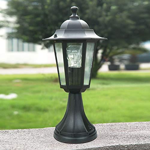 CGC Pedestal Small Post Lantern in Black Coach Light E27 Standard Screw Type IP44 Weatherproof for Outdoor Garden Wall Patio Garage Door