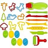 GOLDGE 23-Teilig Knetwerkzeug Knete Spielzeug Teig Platilin Zubehör Ausstecher Küchenspielzeug...