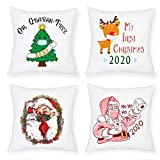 MMTX 4 Piezas Navidad Fundas de Cojines, 2020 muñeco de Nieve de Invierno, Papá Noel, para el hogar, Cojines Decorativos para Cojines Decorativos, Fundas de cojín de Navidad para sofá, para sofá Cama