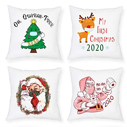 MMTX 4 Piezas Navidad Fundas de Cojines, 2020 muñeco de Nieve de Invierno, Papá Noel, para el...