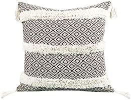Merrycolor Boho Decorative Tufted Throw Pillow Covers 18x18 Inch Cotton Woven Diamond Geometry Textured Morocco...