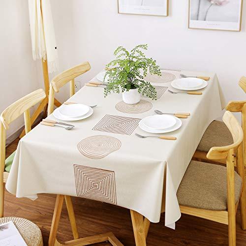 Highlyking Moderno Mantel de Vinilo de PVC, Mantel Tipo Hule Encerado, Rectangular Lavable Mantel Resistente Al Desgaste Impermeable & Rectangular para Mesa de Comedor/Jardin