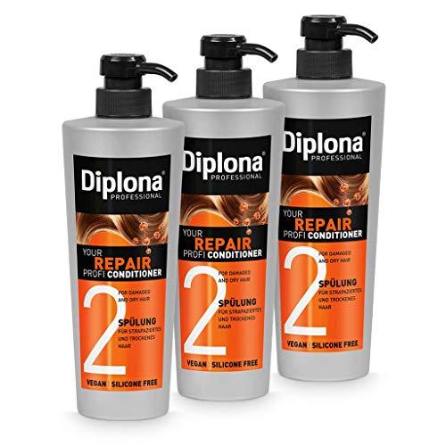 DIPLONA Acondicionador para cabello dañado y seco - Your Repair Profi Acondicionador para mujeres - Acondicionador vegano sin silicona ni parabenos - Cuidado del cabello para mujer 3 x 600 ml