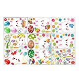 Kalaokei 9Sheets/Set de pegatinas de dibujos animados patrón de PVC sin pegamento para decoración del hogar de la etiqueta engomada para el refrigerador de Pascua estática de la ventana 1