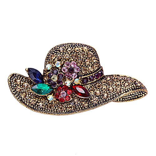 RINHOO Crystal Pearl Initial Brooch Gold Plated Enamel Colorful Letter Alphabet Breastpin Pin Jewelry for GIFTS (Hat-1)