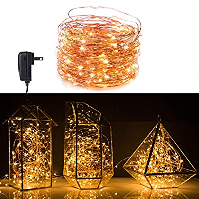Minetom 200 LED Fairy Lights Plug in 70FT Starry String Lights Waterproof Copper Wire Lights - UL Adaptor Included, for Indoor Outdoor Christmas Bedroom Patio Wedding Garden Warm White