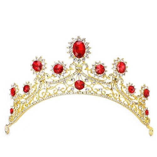 niumanery Bridal Wedding Gold Red Rhinestone Hair Tiara Headband Crown Hair Accessories