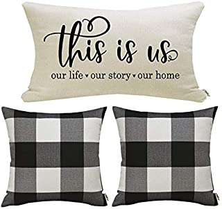 Farmhouse Decorative Throw Pillow Covers Set of 3 Black and White Buffalo Check Pillow Covers 18 x 18 Inch with This is Us Quote Retangle Pillow Covers Farmhouse Décor Housewarming Gifts for New Home