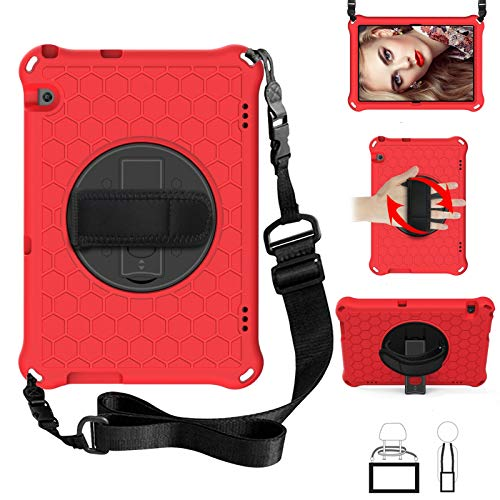 Case for Huawei MediaPad T5 10inch 2018(AGS2-W09/L09/L03/W19), EC-Touch Smart Shockproof Impact-Resistant Silicone EVA Rotating Stand Cover Case with Hand Strap,Shoulder Strap (Red+ Black)